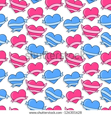 Pink and blue line art hearts seamless background vector pattern