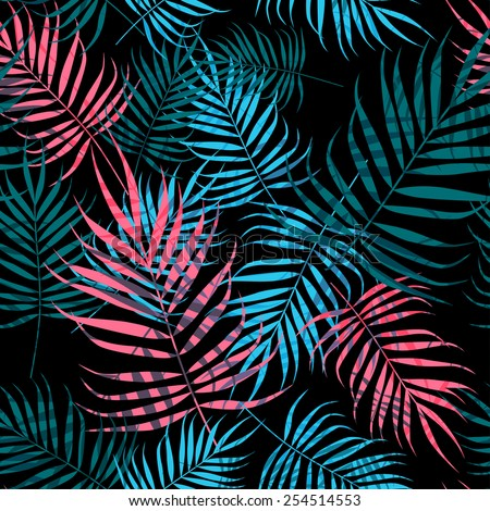 pink and blue palm tree foliage
