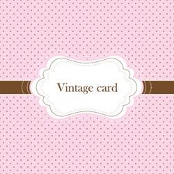 Pink and brown vintage card, polka dot design