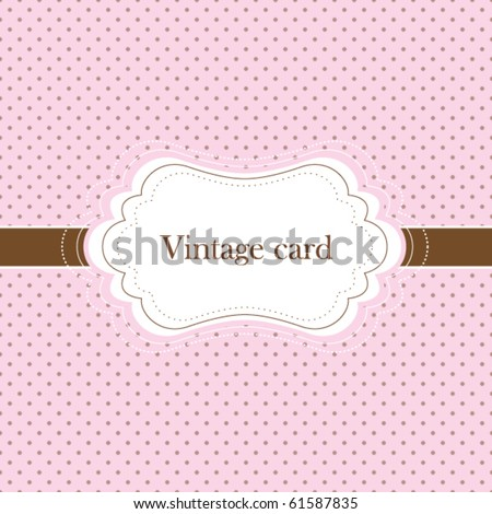 stock-vector-pink-and-brown-vintage-card-polka-dot-design