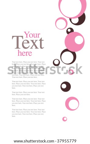 Pink and Chocolate Brown Retro Circle Invitation Template