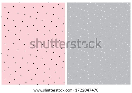 Pink and Gray Seamless Vector Pattern with small Dots. Tiny Black and Whit Polka Dots Isolated on a Pink and Gray Background. Simple Dotted Backdrop. Cute Geometric Print. Minimalist Design with Dots.
