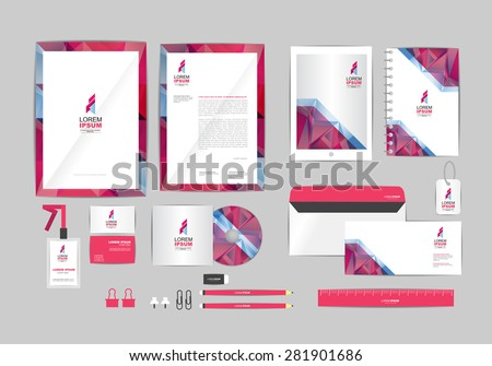 pink and gray with triangle corporate identity template for your business includes CD Cover, Business Card, folder, ruler, Envelope and Letter Head Designs