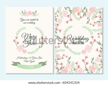 Pink and green pastel Wedding invitation, thank you card, save the date card with flowers, rose, leaf, branch on white background. Elegant hipster rustic wedding invitation. Boho style. #604241324
