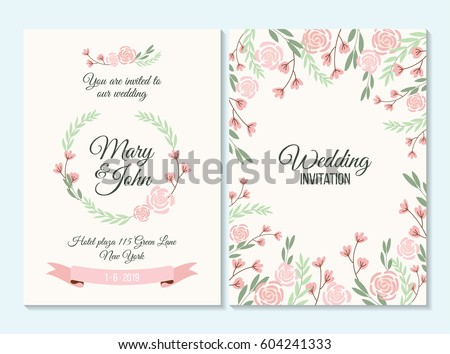 Pink And Green Pastel Wedding Invitation Thank You Card Save The Date With