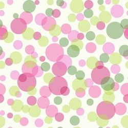 Pink and green transparent dots seamless background pattern