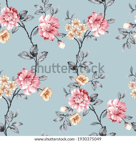 pink and mustered vector flowers with grey leaves pattern on blue background Stock foto ©