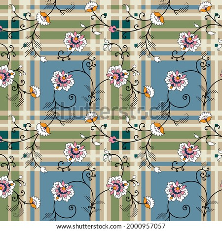 pink and mustered vector paisley pattern on blue green and cream checks background Stock foto ©