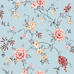 pink and mustered vector small flowers with grey leaves pattern on blue background