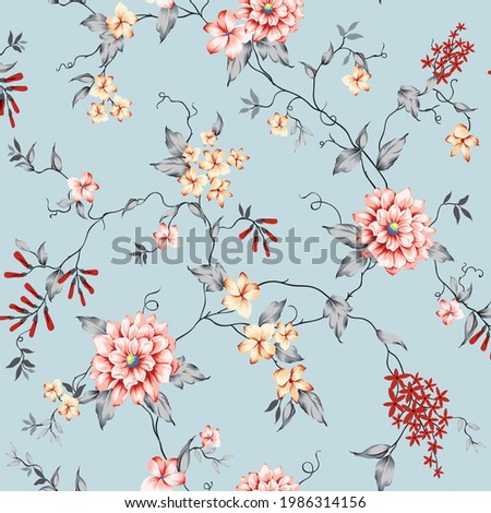 pink and mustered vector small flowers with grey leaves pattern on blue background Stock foto ©