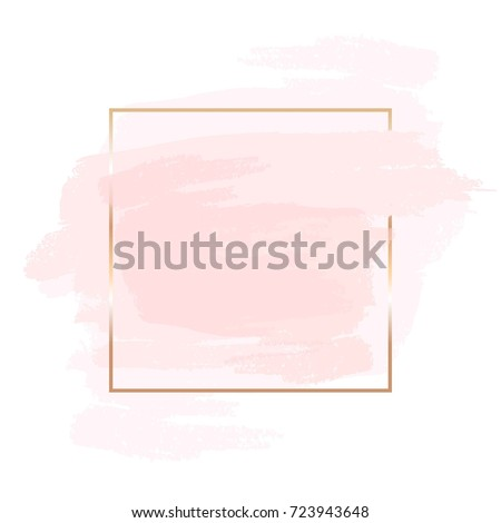 stock-vector-pink-and-nude-brush-strokes-and-gold-frame-abstract-vector-background