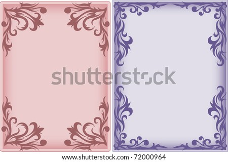 pink and purple vertical frame with an ornament