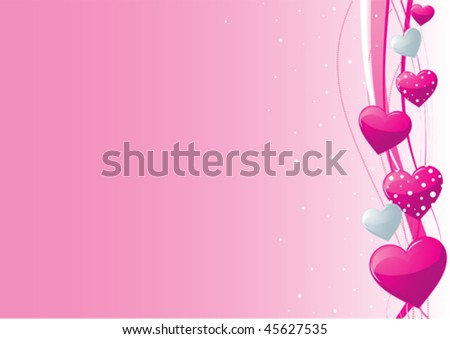 stock vector Pink and silver hearts on a pink background