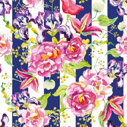 Pink and violet flowers with green leaves and floral elements on the striped background. Watercolor seamless pattern with summer flowers. Roses, irises and clematis.