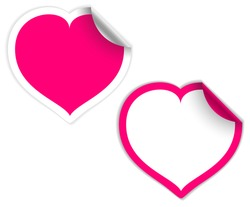 Pink and white heart labels / stickers (vector)