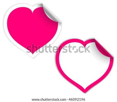 Pink and white heart labels stickers vector