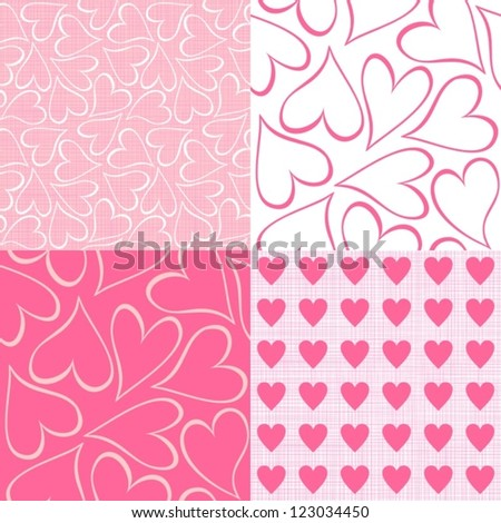 pink and white hearts seamless pattern valentines backgrounds set