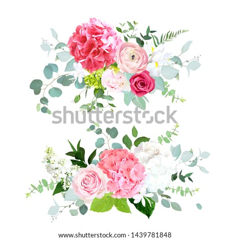 Pink and white hydrangea, red rose, ranunculus, peony, iris eucalyptus and greenery vector design horizontal bouquets. Summer wedding flowers. Floral banner. All elements are isolated and editable