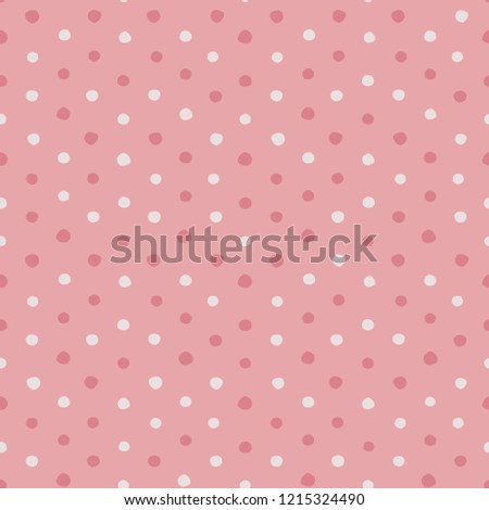 Pink and white irregular polka dots vector seamless pattern.