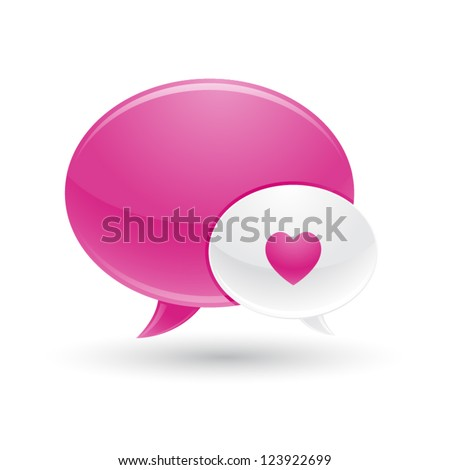Pink and White Message of Love Icon