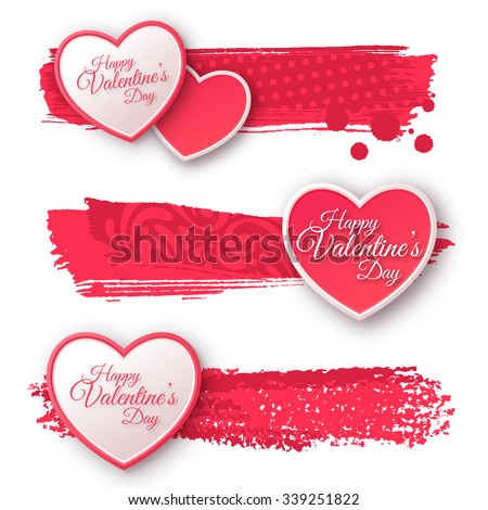 Pink and White Paper Hearts with Watercolor Patterned Strokes. Valentines Day Greeting Banner Isolated on White Background. Vector Illustration. Romantic Lovely Frame Design for Mothers Day.