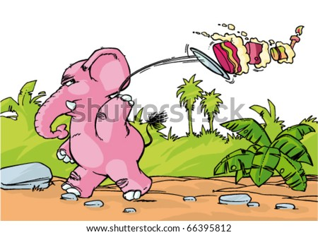 pink angry Elephant is throwing cake