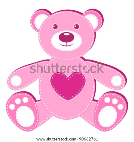 Pink applique bear. Isolated on white. Vector illustration.