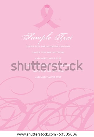Pink Awareness Ribbon Invitation Breast Cancer - stock vector