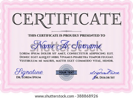 Pink Awesome Certificate template. With great quality guilloche pattern. Award. Money Pattern.
