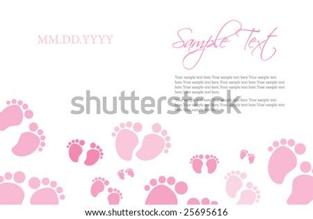 Pink Baby Feet Invitation Template