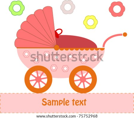 Pink Baby Pram illustration - stock vector