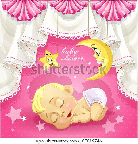 Pink baby shower card with sweet sleeping newborn baby - stock vector