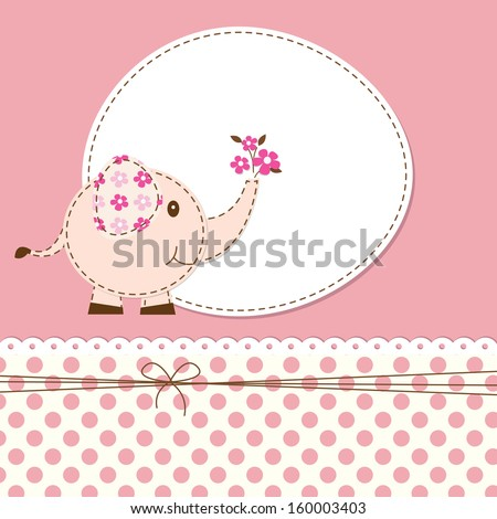 pink baby shower with cartoon