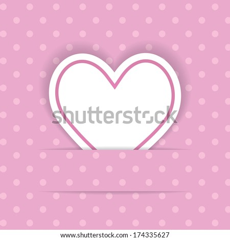 pink background with a paper heart