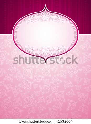 pink background with big label and roses, vector illustration