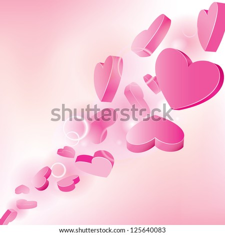 Pink background with hearts. Vector