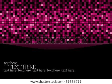 Pink background with retro elements of disco ball, vector illustration