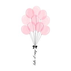 Pink balloon bunch illustration