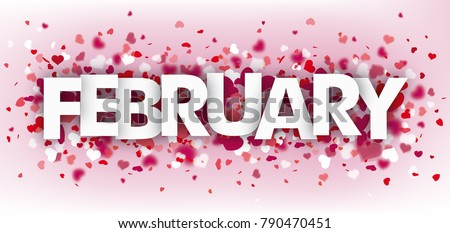 Pink banner with hearts and text february. Eps 10 vector file.