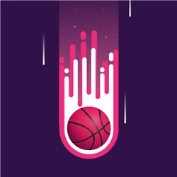 Pink Basketball fire vector illustration, Realistic Fireball 3D, Firebasketball flying, Icon Logo and Simbol For Games Sport or Competition