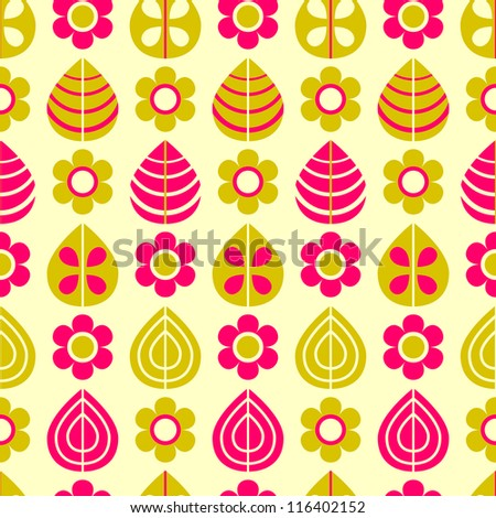 Pink Beige Flowers and Leaves on Yellow Pattern. Vector Seamless Pattern #116402152