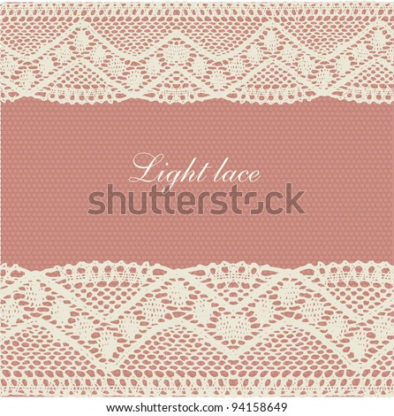 Pink-beige pale lace background - stock vector