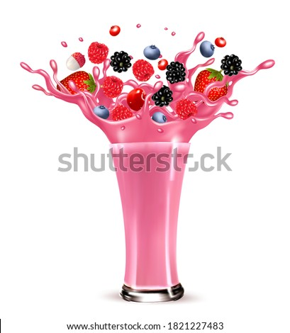 Pink berry juice splash. Whole and sliced strawberry, raspberry, cherry blueberry and lychee in a sweet juce or cocktail with splashes and drops isolated on transparent background. 3D. Vector.