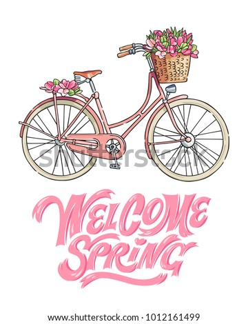 Pink bicycle carrying a bouquet of tulips. Hand lettering saying