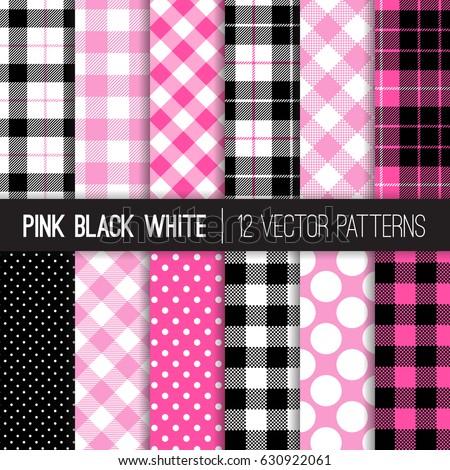 pink  black and white polka