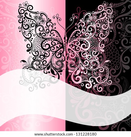 Pink-black frame with vintage  butterfly and white translucent wave strip(vector EPS 10)