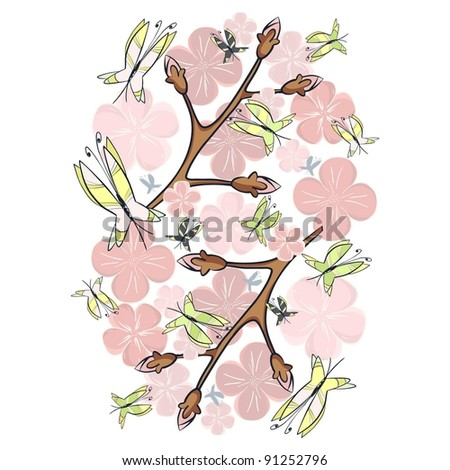 Pink blossom and butterflies-gentle atmosphere of a spring morning