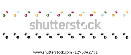Pink, blue and green Cat Paw Dog Paw vector seamless repeat border .Black paws border. Vertical border. #1295942731