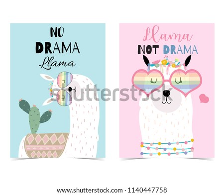 Pink,blue hand drawn cute card with llama,heart glasses and cactus.No drama llama