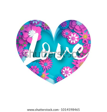 pink blue love text in paper